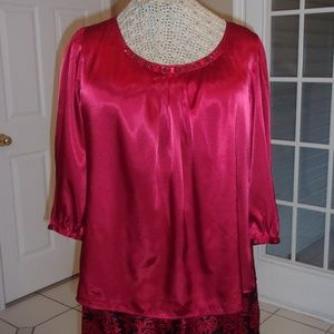 Elegant Rich Red Silky Beaded Blouse
